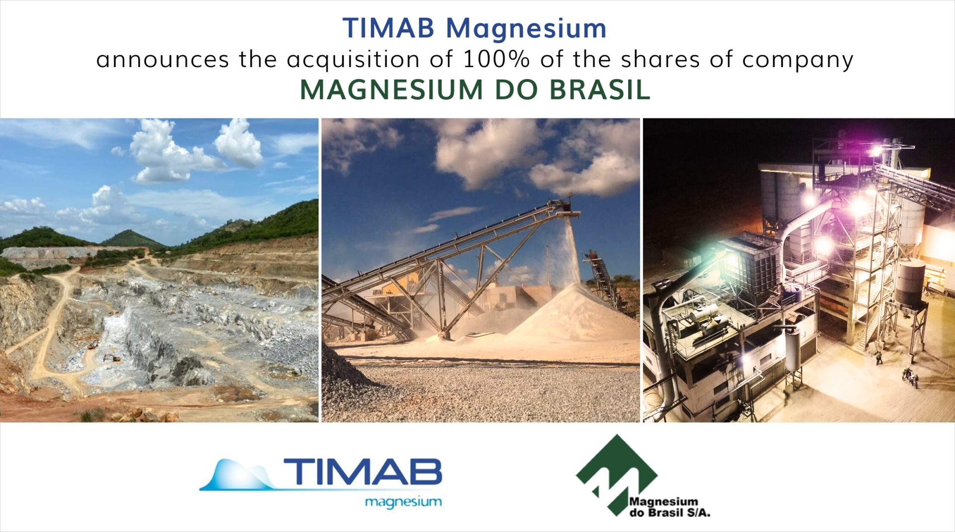 TIMAB MAGNESIUM ANNOUNCES ITS ACQUISITION OF MAGNESIUM DO BRASIL. 